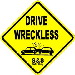yellow street sign that say Drive Wreckless